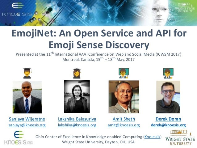 EmojiNet: An Open Service and API for Emoji Sense Discovery Ohio Center of Excellence in Knowledge-enabled Computing (Kno....