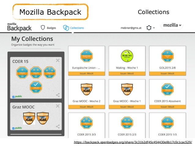 Mozilla Backpack https://backpack.openbadges.org/share/3c31b2df45c454430e8b17c0c1cac529/ Collections