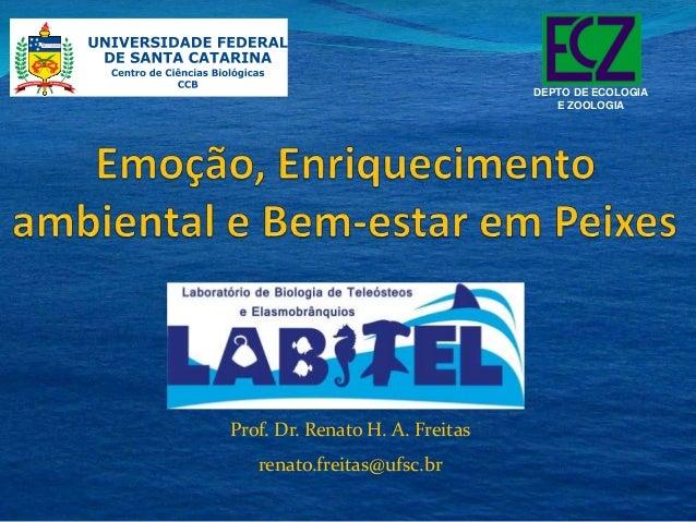 Prof. Dr. Renato H. A. Freitas  renato.freitas@ufsc.br  DEPTO DE ECOLOGIA  E ZOOLOGIA