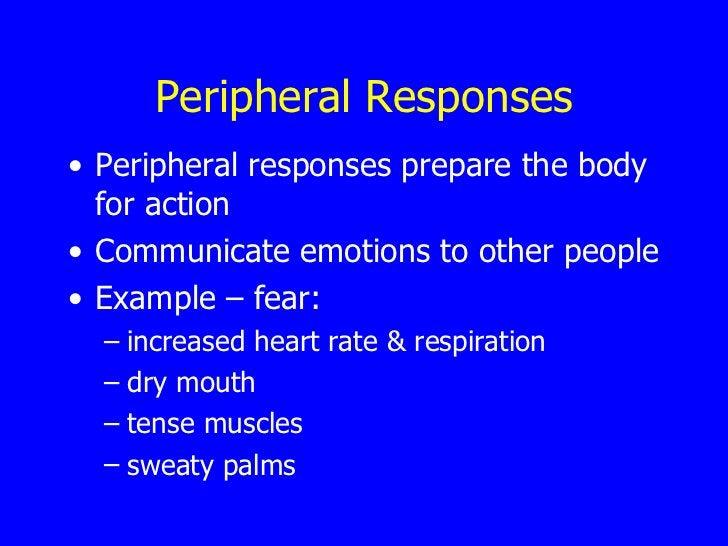 Peripheral Responses <ul><li>Peripheral responses prepare the body for action </li></ul><ul><li>Communicate emotions to ot...