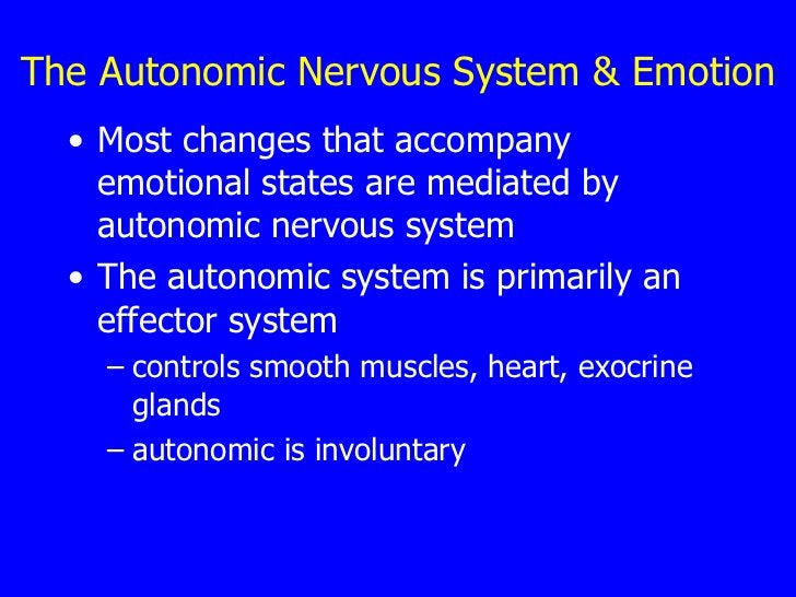 The Autonomic Nervous System & Emotion <ul><li>Most changes that accompany emotional states are mediated by autonomic nerv...