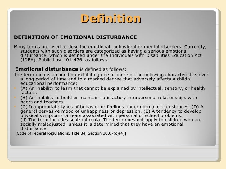 the need to support behavior disorders and emotional disturbances in students
