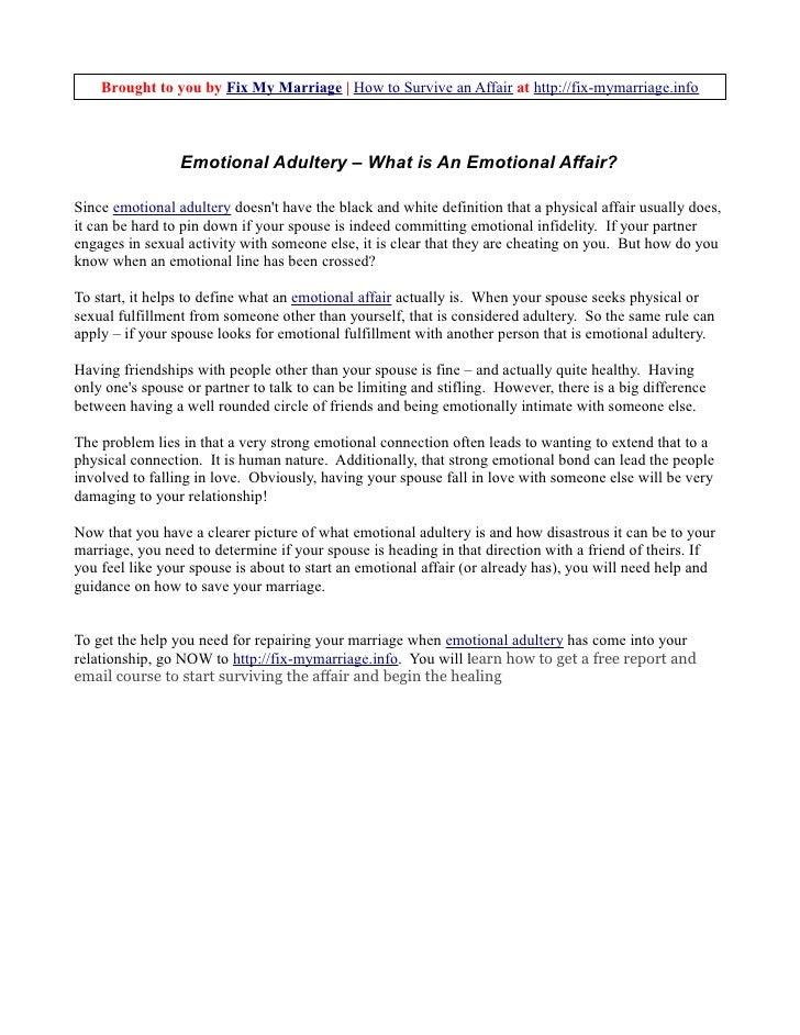 Emotional Adultery - What is an Emotional Affair?