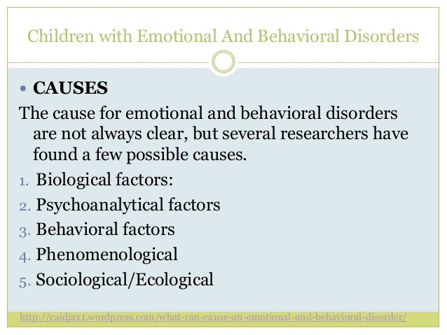 children with emotional and behavioral disorders