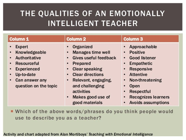 The qualities that make an ideal teacher