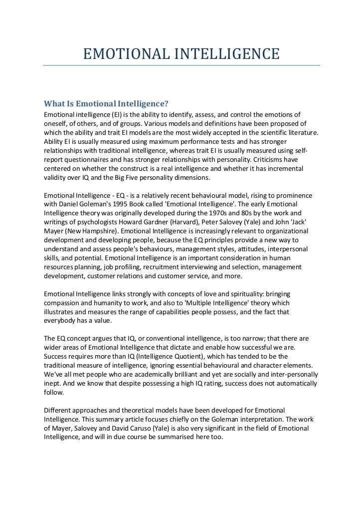 reflective essay on emotional intelligence reflective essay on emotional intelligence