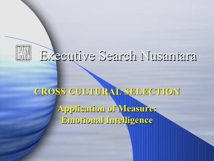 Application of Measure: Emotional Intelligence Executive Search Nusantara CROSS CULTURAL SELECTION