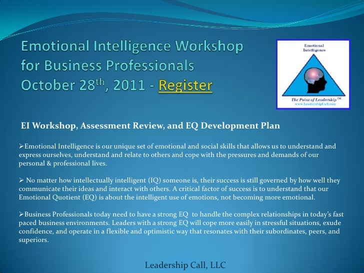 emotional intelligence and resonant leadership Emotionally intelligent leaders often have an internal locus of control, which means that they believe they are in charge of their future while a leader might be able to stand out of the crowd, those with emotional intelligence are also able to work as a part of the team embodying qualities of helpfulness.