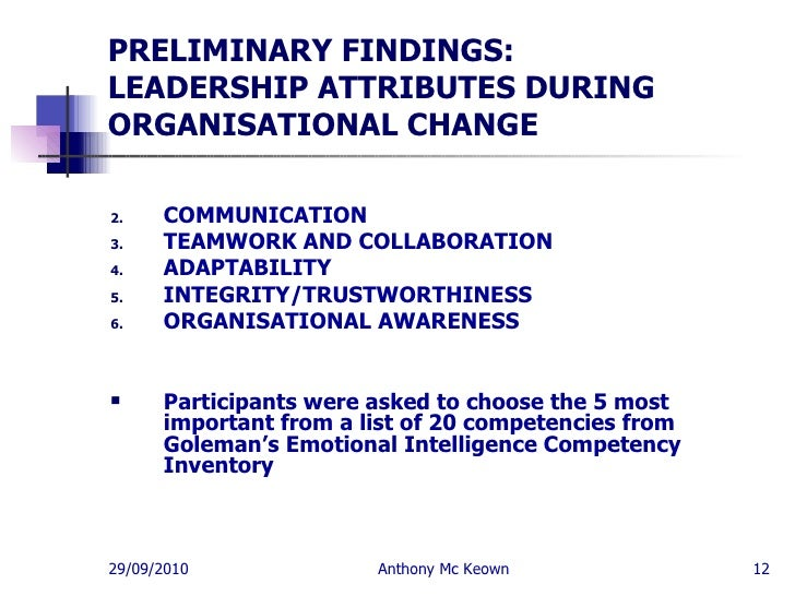 Emotional Intelligence Leadership Skills Anthony Mc Keown