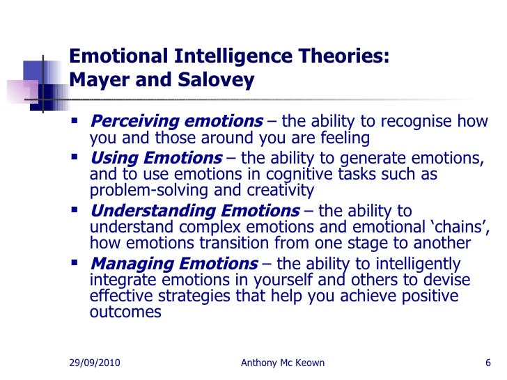 theories of emotional intelligence The author explains his theories of emotional intelligence read more at bigthinkcom:.