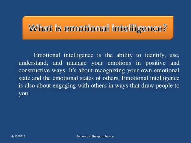 Emotional intelligence HRM PPT MBA