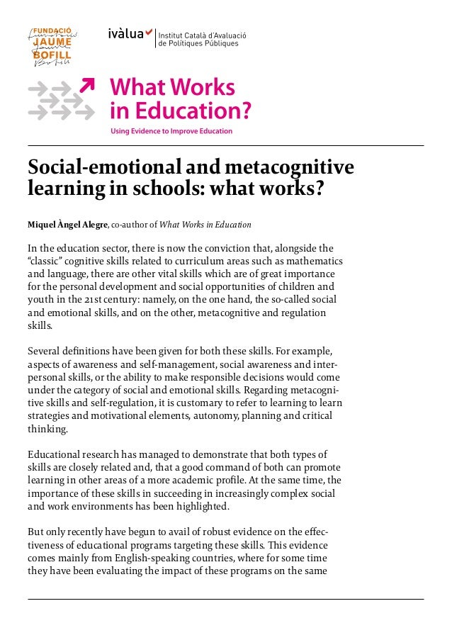 Impact Of Social Emotional Learning On >> Are Social And Emotional Learning Programs Effective Tools