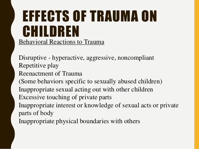 an overview of the long term outcome of psychological trauma in childhood Psychological trauma: theory, research, practice, and policy 4(4):  accumulated childhood trauma and symptom  treatment effects and long-term maintenance.