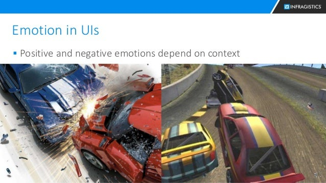 22 Emotion in UIs  Positive and negative emotions depend on context