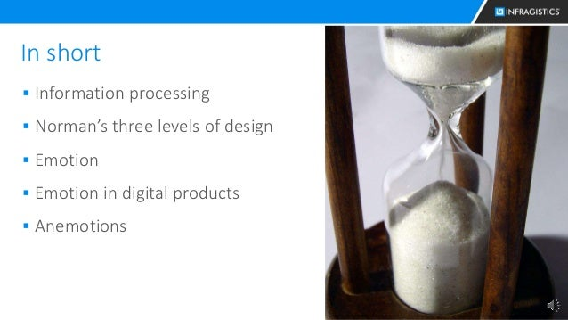 30 In short  Information processing  Norman's three levels of design  Emotion  Emotion in digital products  Anemotions
