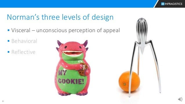 8 Norman's three levels of design  Visceral – unconscious perception of appeal  Behavioral  Reflective