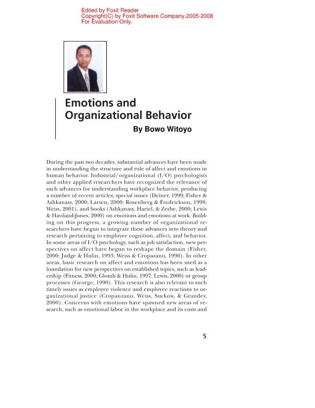 Edited by Foxit Reader Copyright(C) by Foxit Software Company,2005—2008 For Evaluation Only.      Emotions and Organizatio...