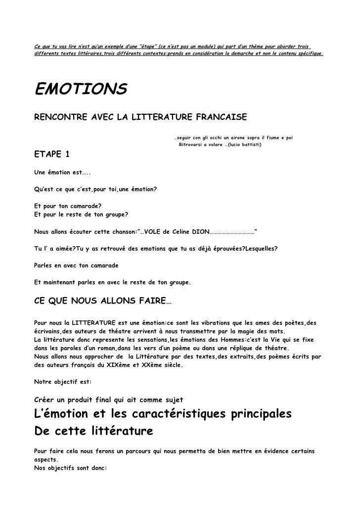 Emotions (Piste d 'éTude  de littérature)