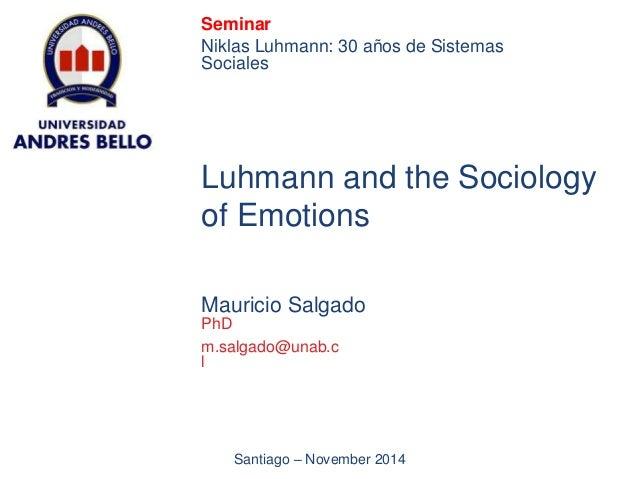 Seminar  Niklas Luhmann: 30 años de Sistemas  Sociales  Luhmann and the Sociology  of Emotions  Mauricio Salgado  PhD  m.s...