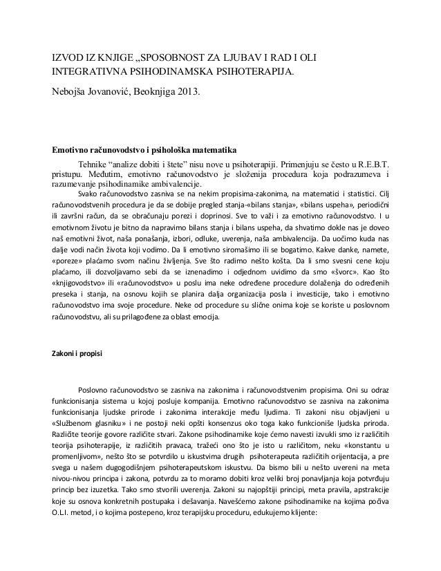 """IZVOD IZ KNJIGE """"SPOSOBNOST ZA LJUBAV I RAD I OLI INTEGRATIVNA PSIHODINAMSKA PSIHOTERAPIJA. Nebojša Jovanović, Beoknjiga 2..."""