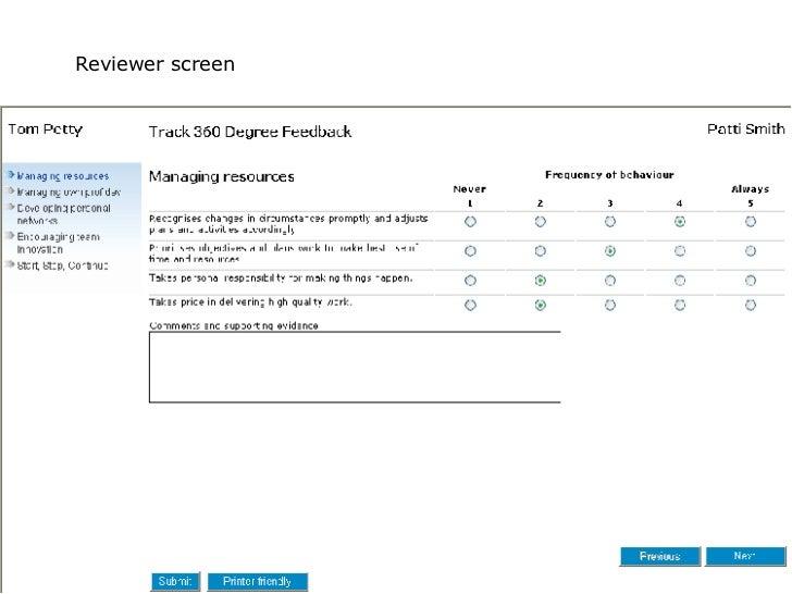 Reviewer screen