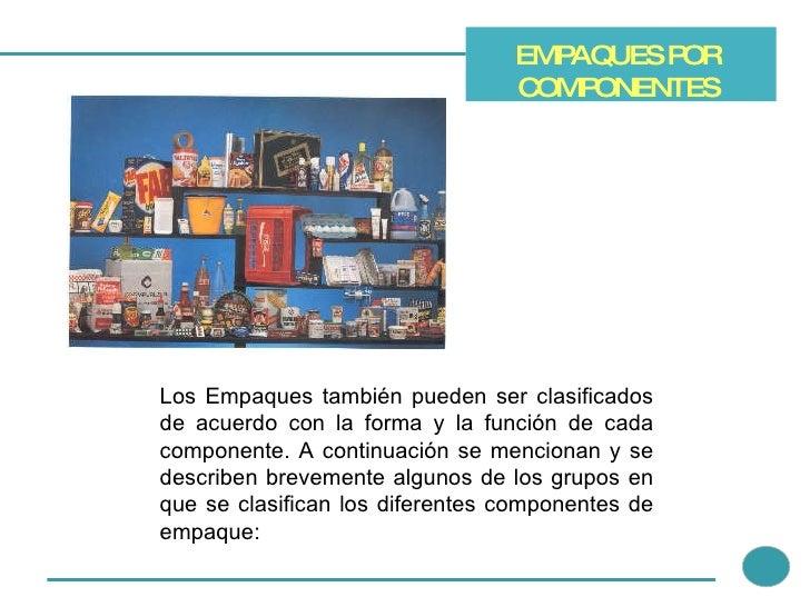 EMPAQUES POR COMPONENTES Los Empaques también pueden ser clasificados de acuerdo con la forma y la función de cada compone...