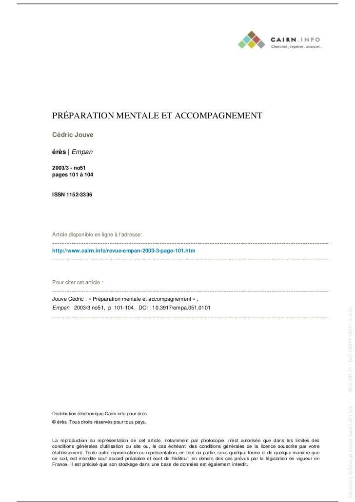 PRÉPARATION MENTALE ET ACCOMPAGNEMENT                                                                                     ...
