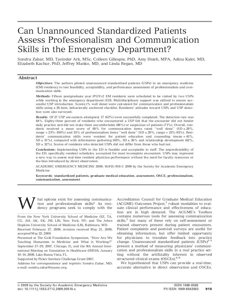 Can Unannounced Standardized PatientsAssess Professionalism and CommunicationSkills in the Emergency Department?Sondra Zab...