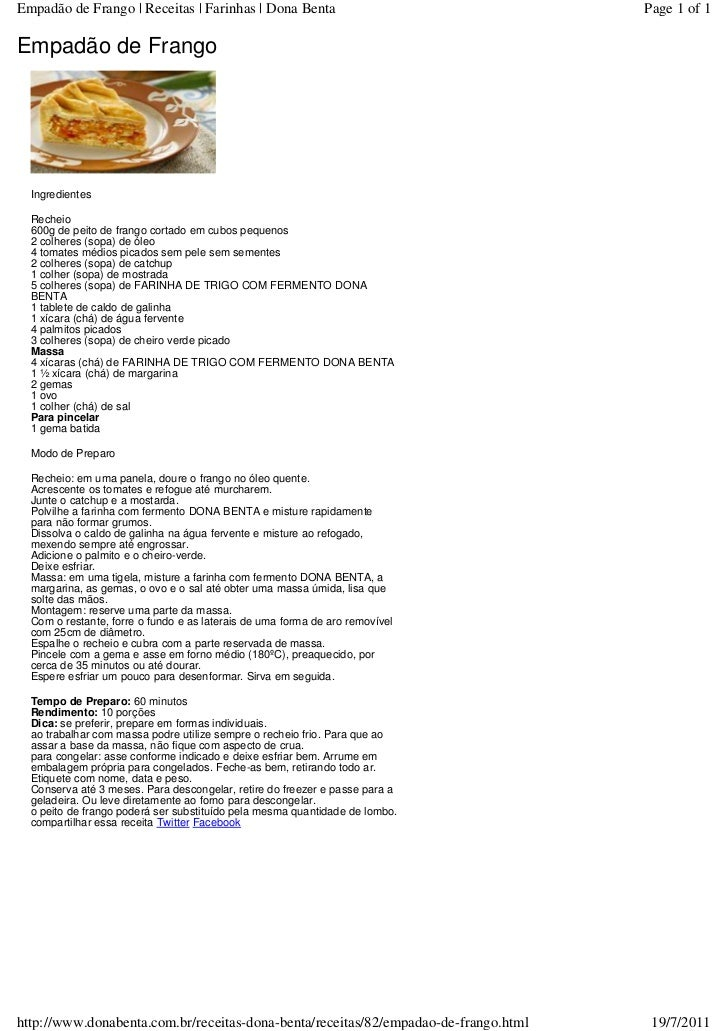 Empadão de Frango | Receitas | Farinhas | Dona Benta                                 Page 1 of 1Empadão de Frango  Ingredi...