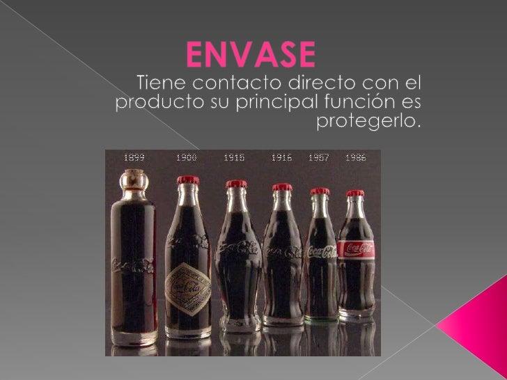 ENVASE<br />Tiene contacto directo con el producto su principal función es  protegerlo.<br />