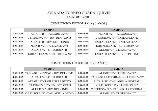 JORNADA TORNEO GUADALQUIVIR                                      13-ABRIL-2013                                 COMPETICIÓN...