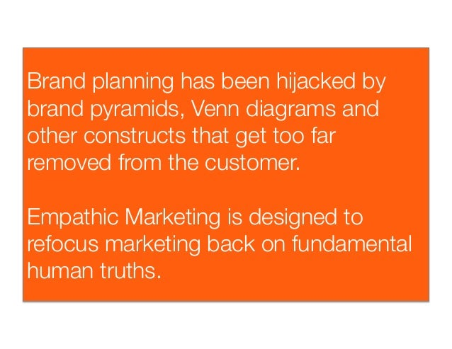 Brand planning has been hijacked bybrand pyramids, Venn diagrams andother constructs that get too farremoved from the cust...