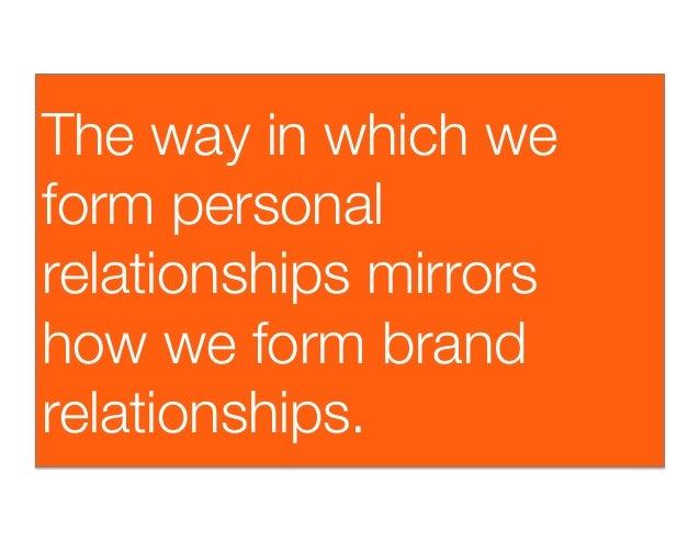 The way in which weform personalrelationships mirrorshow we form brandrelationships.