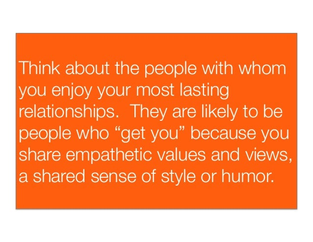 """Think about the people with whomyou enjoy your most lastingrelationships. They are likely to bepeople who """"get you"""" becau..."""