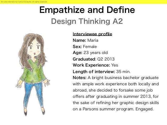 Empathize and Define Design Thinking A2 Interviewee profile Name: Maria Sex: Female Age: 23 years old Graduated: Q2 2013 Wor...