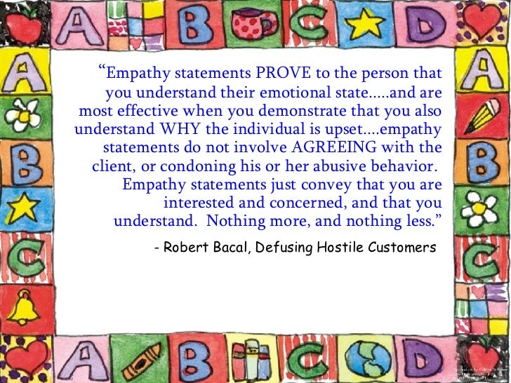 call center empathy statements