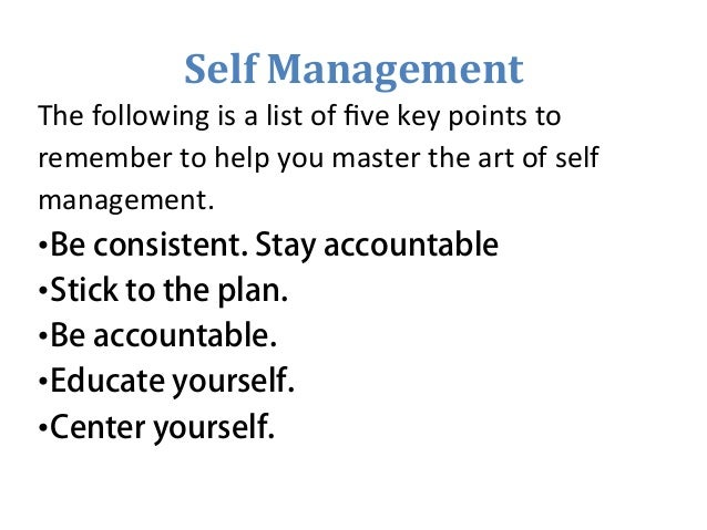examples of self management in the workplace