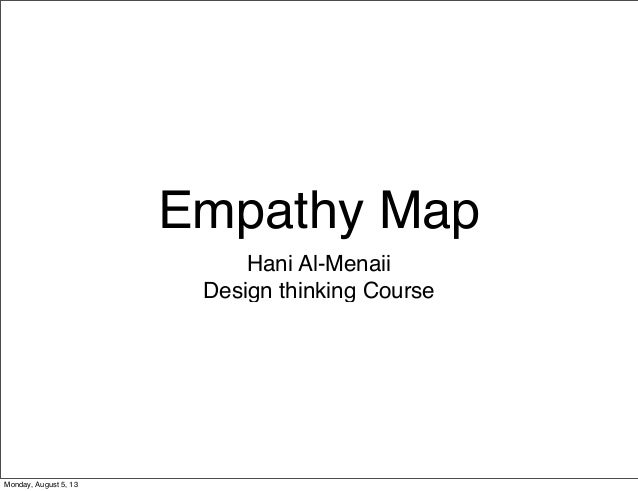 Empathy Map Hani Al-Menaii Design thinking Course Monday, August 5, 13