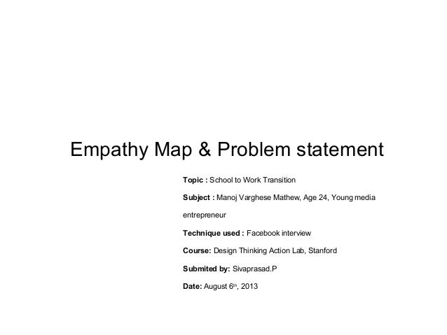 Empathy Map & Problem statement Topic : School to Work Transition Subject : Manoj Varghese Mathew, Age 24, Young media ent...