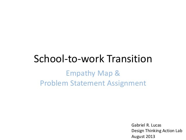 School-to-work Transition Empathy Map & Problem Statement Assignment Gabriel R. Lucas Design Thinking Action Lab August 20...