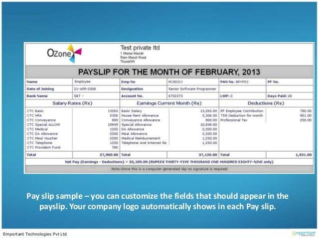 Em payroll process 02 – Monthly Pay Slip