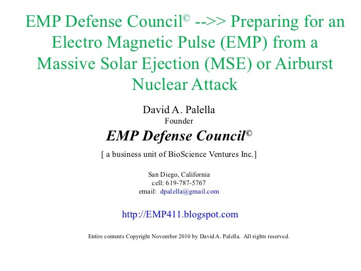 EMP Defense Council ©  -->> Preparing for an Electro Magnetic Pulse (EMP) from a Massive Solar Ejection (MSE) or Airburst ...