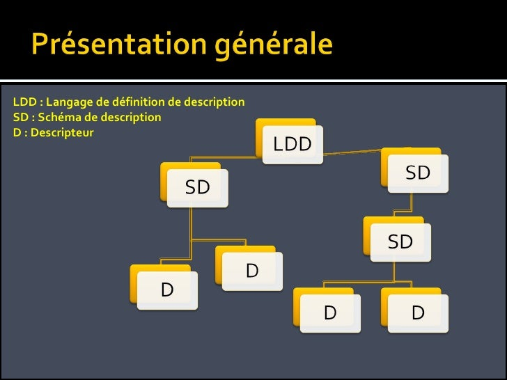 LDD : Langage de définition de description SD : Schéma de description D : Descripteur