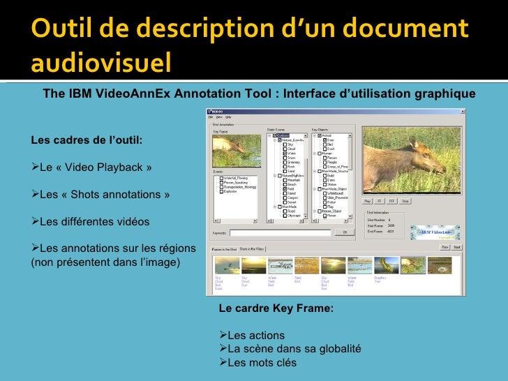 Outil de description d'un document audiovisuel <ul><li>Les cadres de l'outil: </li></ul><ul><li>Le «Video Playback» </li...