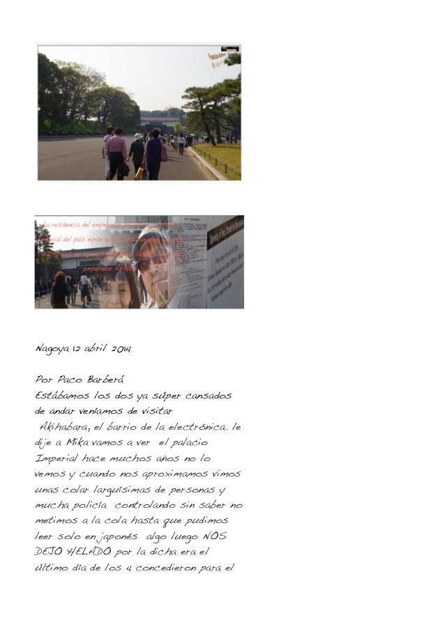 Nagoya 12 abril 2014 Por Paco Barberá Estábamos los dos ya súper cansados de andar veníamos de visitar Akihabara, el barri...