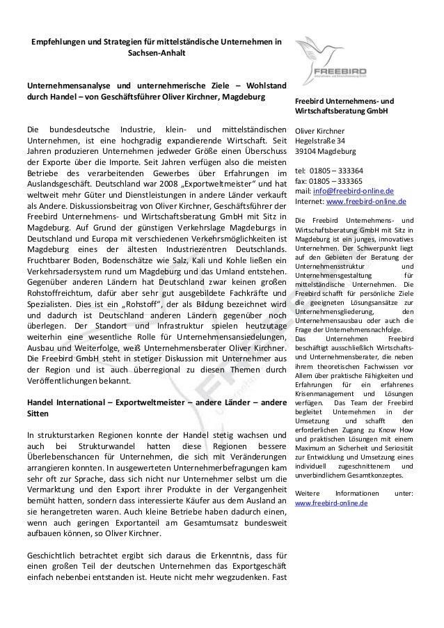 Empfehlungen und Strategien für mittelständische Unternehmen in Sachsen-Anhalt Unternehmensanalyse und unternehmerische Zi...