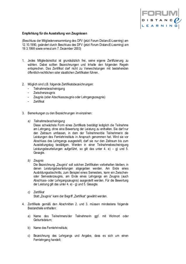 Empfehlung für die Ausstellung von Zeugnissen (Beschluss der Mitgliederversammlung des DFV (jetzt Forum DistancE-Learning)...