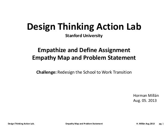 Design Thinking Action Lab. Empathy Map and Problem Statement H. Millán Aug.2013 pg. 1 Design Thinking Action Lab Empathiz...