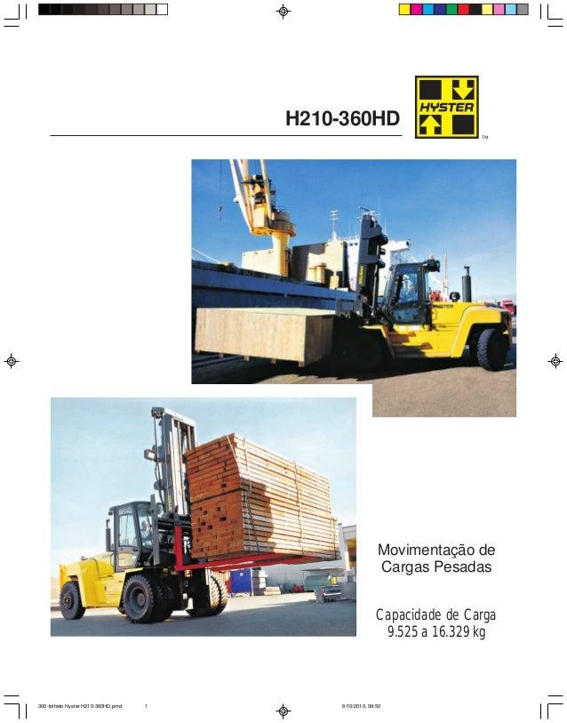 H210-360HD Capacidade de Carga 9.525 a 16.329 kg Movimentação de Cargas Pesadas 300-folheto Hyster H210-360HD.pmd 8/10/201...