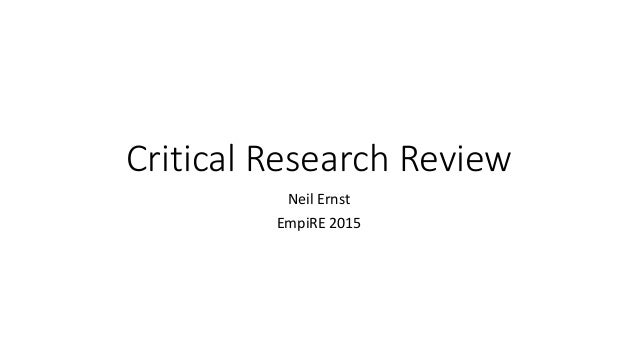 Critical Research Review Neil Ernst EmpiRE 2015